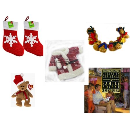 """Christmas Fun Gift Bundle [5 Piece] - Be Jolly Sparkle Stocking 19"""" Set of 2 - String of Gingerbread  w/ Wood Stars & Hearts 4.5"""