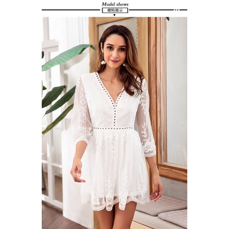 Sexy Sweet - Lace Stitching Embroidery Sexy Chiffon Dress V Collar 3/4 Sleeve Hollow Out Solid White Sweet Dress