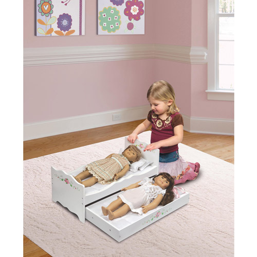 Badger Basket White Rose Doll Bed with Trundle, Fits American Girl and My Life As Dolls