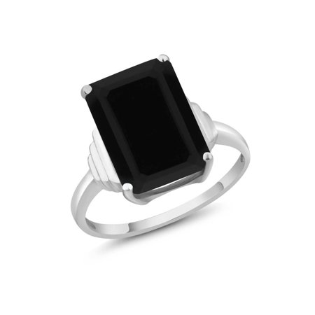 - 5.00 Ct Octagon Black Onyx 925 Sterling Silver Ring