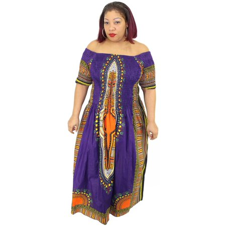 Women's Short Sleeve Dashiki Dress - FI-5007