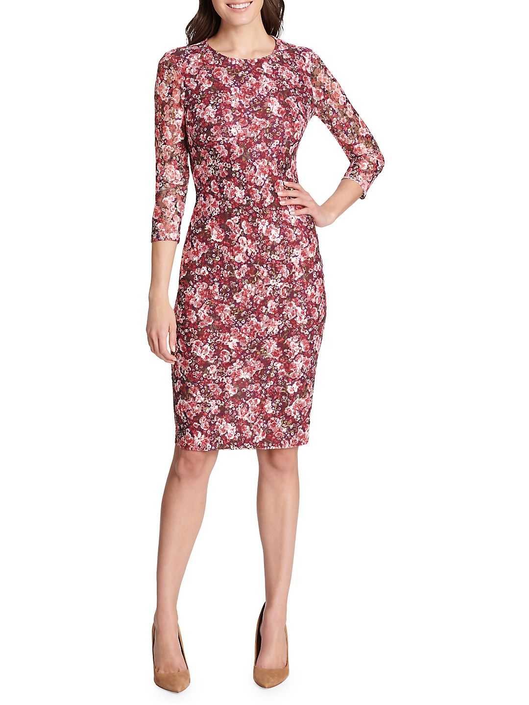Three-Quarter Sleeve Floral Sheath Dress