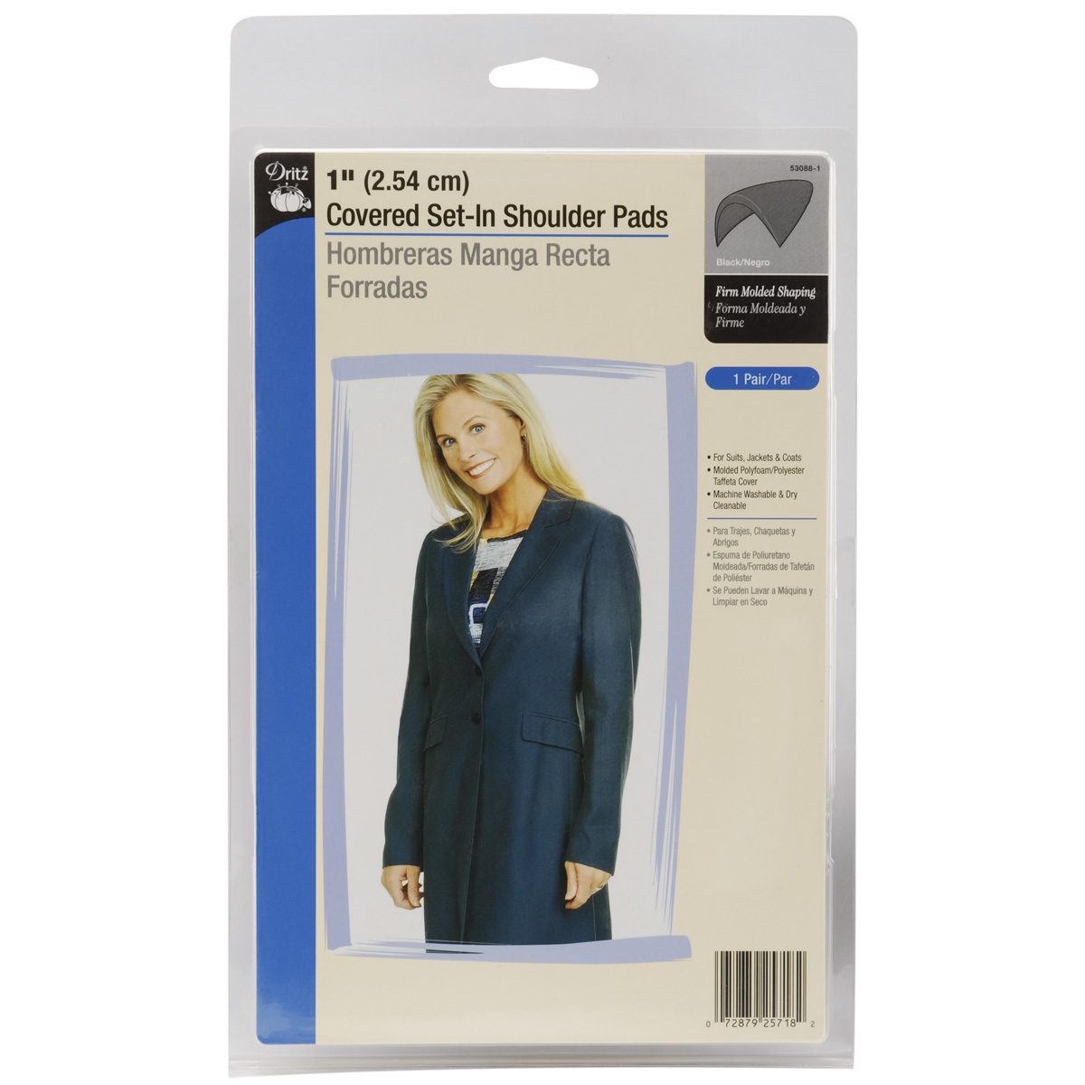 "Dritz 1"" Covered Set - In Shoulder Pads 2/Pkg - Black"