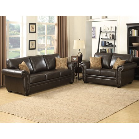 Louis Collection Traditional 2-Piece Upholstered Leather Living Room Set with Sofa, Loveseat and 4 Accent Pillows, Brown Brown Leather Pillow Top Sofa