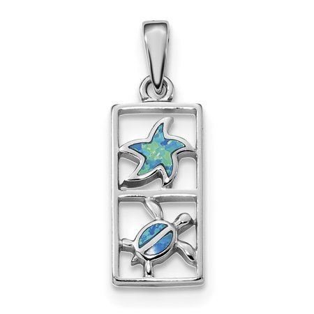 925 Sterling Silver Blue Created Opal Starfish Turtle Pendant Charm Necklace Sea Life Fine Jewelry For Women Gift Set ()