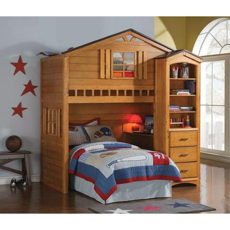 Simple Relax Kids Youth Fun Tree House Twin Loft Bunk Bed Bookshelf Storage Cabinet In Oak