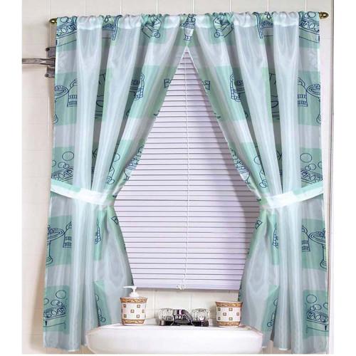 """""""Bathtime"""" 100% polyester fabric window curtain with two tie backs, size 54""""x34"""""""