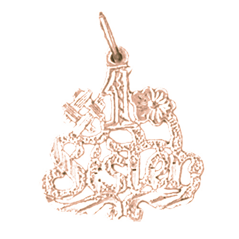 Rose Gold-plated 925 Sterling Silver #1 Sister Pendant - 21 mm (Approx. 0.85 grams)