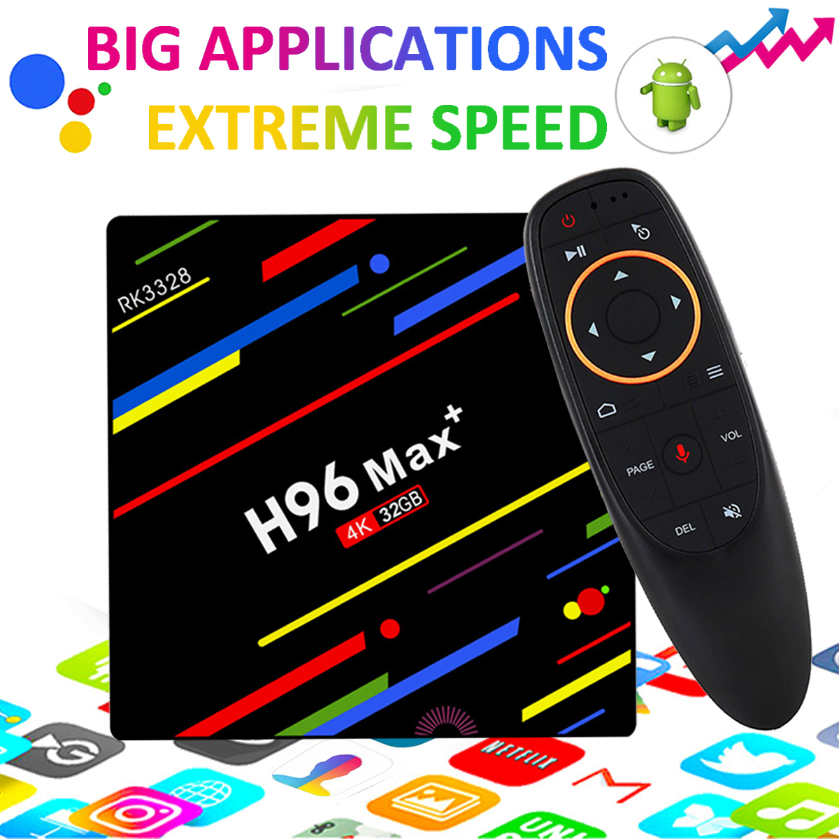 TV BOX - H96 Max Plus RK3328 4G/32G Android 8.1 USB3.0 Voice Control TV Box Support HD Netflix 4K US