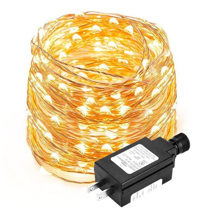 Lighting EVER 33ft Copper Wire Lights, 100 LEDs Flexible Fairy Lights, Warm White , Christmas Lights Copper Starry String Lights (Led Wire For Clothing)