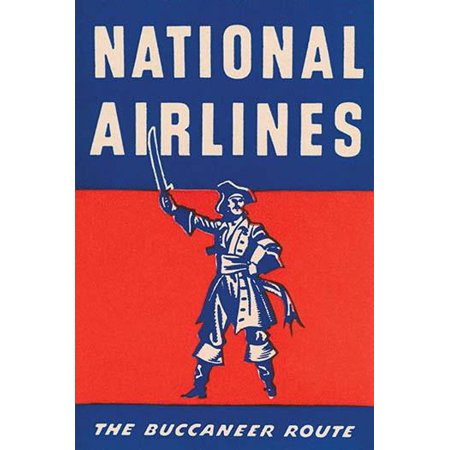 A luggage label placed on bags which were transported by a small airline National Airlines and the route known as The Buccaneer Route Poster Print by unknown