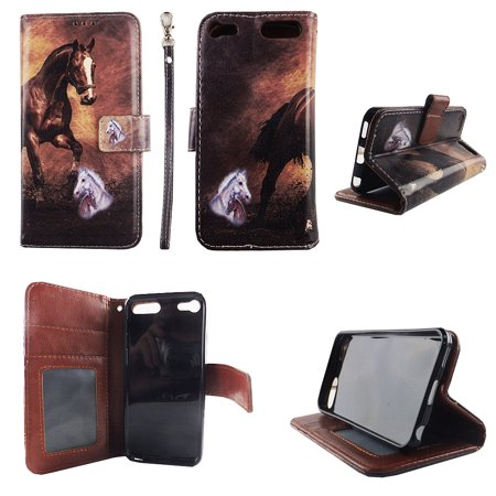 Brown Horse Wallet Folio Case for Ipod touch 5 5th Fashion Flip PU Leather Cover Card Cash Slots & Stand