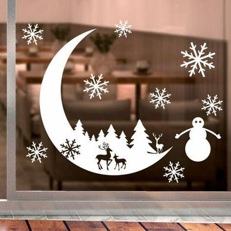 Fancyleo Christmas Snow Moon Wall Sticker Decal Bedroom Home Decoration Window Wallpaper Sticker Xmas Decor ()