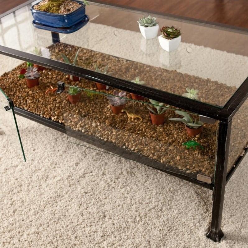 Southern Enterprises Terrarium Gl Display Coffee Table In