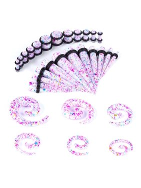 BodyJ4You 36PC Gauges Kit Ear Stretching 8G-00G Rainbow Color Splash Acrylic Spiral Taper Plug Piercing