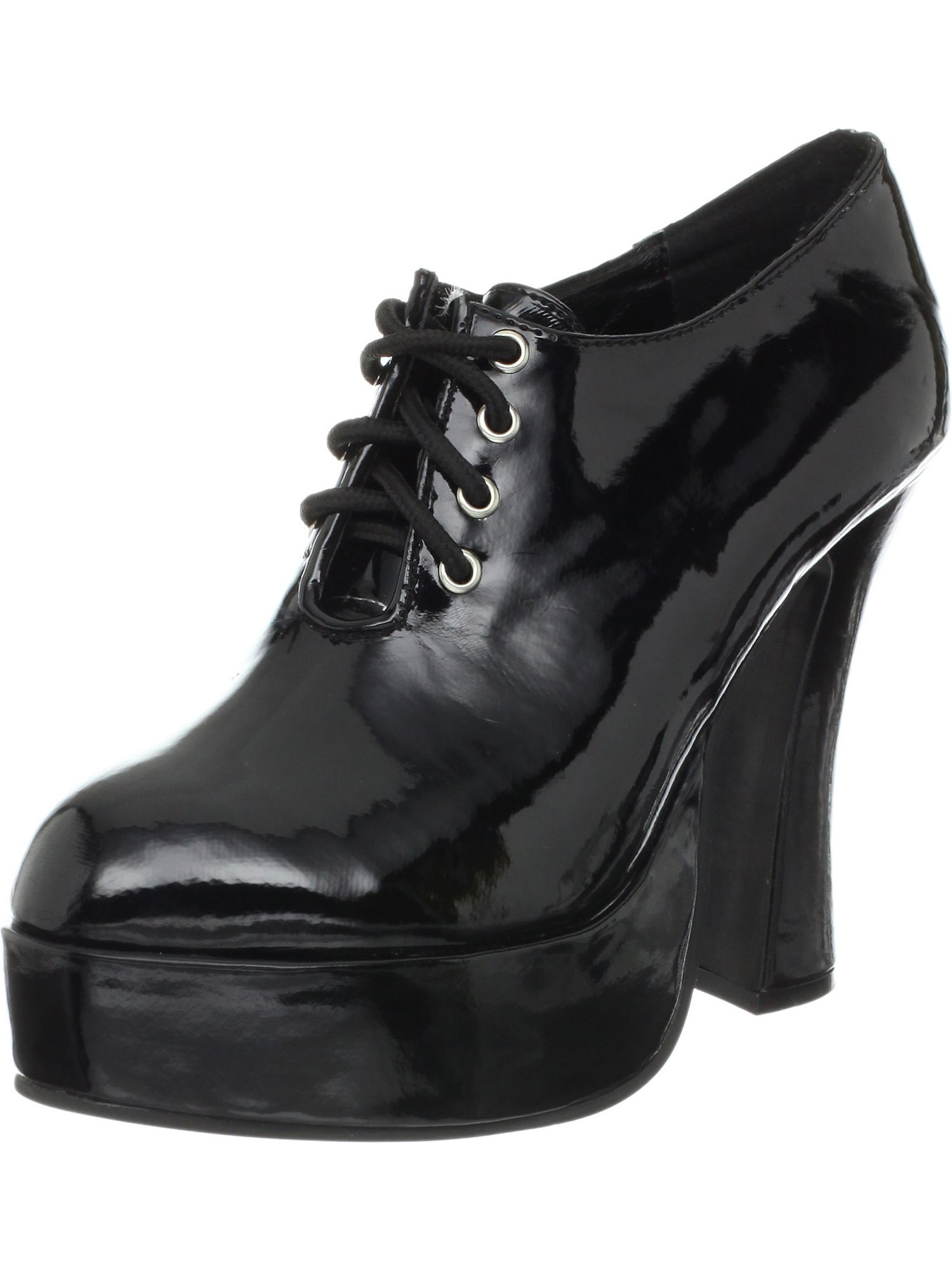 5.5 Inch Womens Sexy Chunky Heel Shoes Mid Platform Lace Up Oxford
