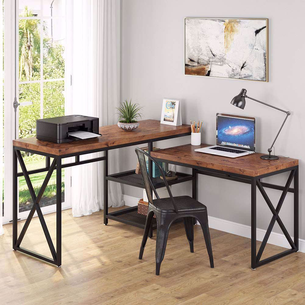 Tribesigns Solid Wood L Shaped Desk, Industrial Sit ...