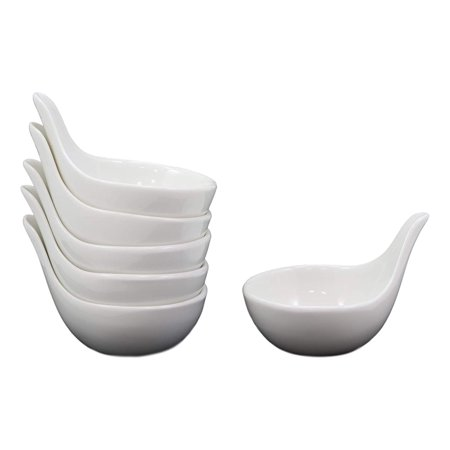 Contemporary Serving Dishes - Ebros Contemporary White Porcelain Condiments Ketchup BBQ Ranch Sauce Small Dipping Bowl Serving Dish Ramekin With Handle 2.5