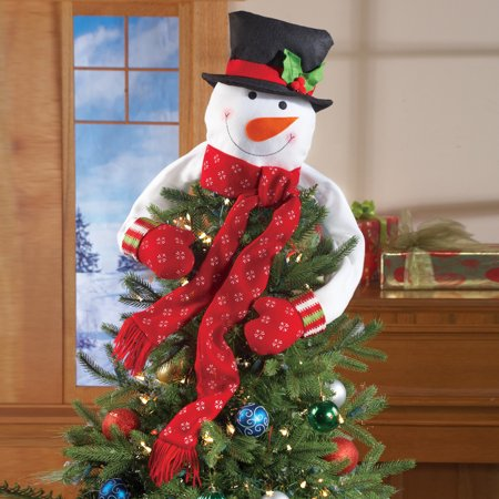 christmas hugging snowman tree topper with red mittens and draping red scarf festive christmas tree