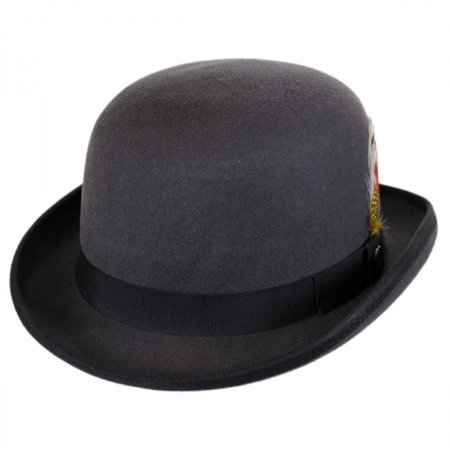 English Wool Felt Bowler Hat - XXL - Gray/Black
