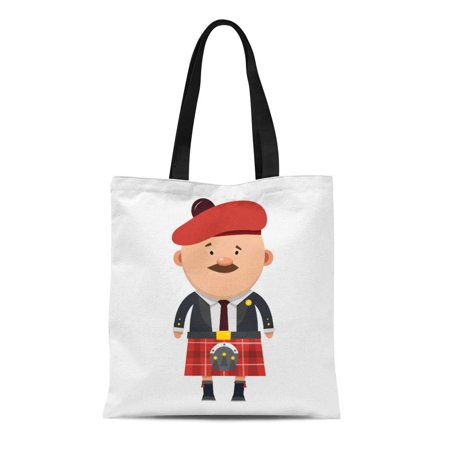 LADDKE Canvas Tote Bag Red Cartoon Scottish Male Mustache in Kilt Skirt Boy Durable Reusable Shopping Shoulder Grocery Bag
