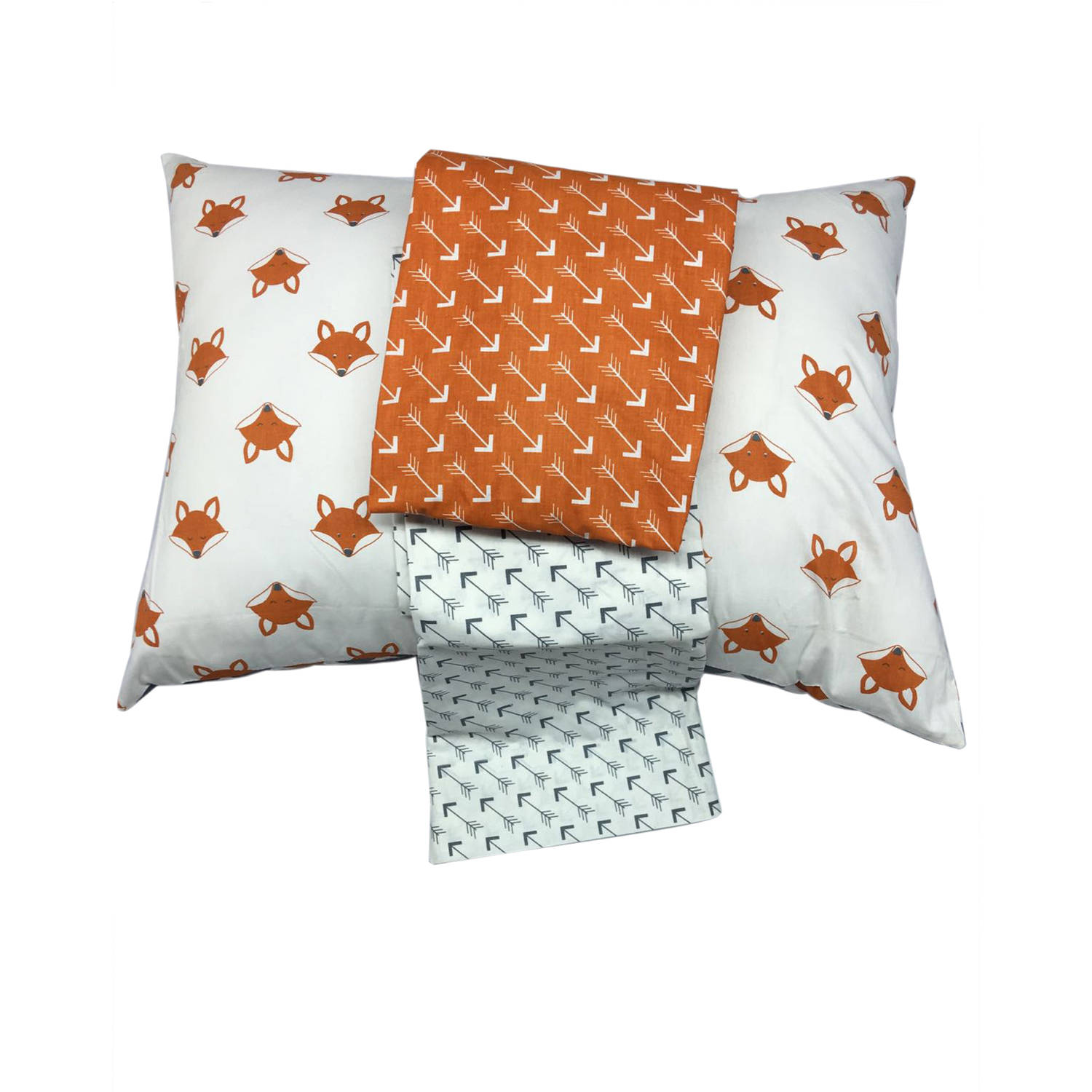 Bacati Playful Foxs 3-Piece 100% Cotton Percale Toddler SHeet Set, Orange Gray by Bacati