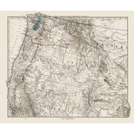 Old State Map   Northwest United States   Petermann 1872   23 X 27 37