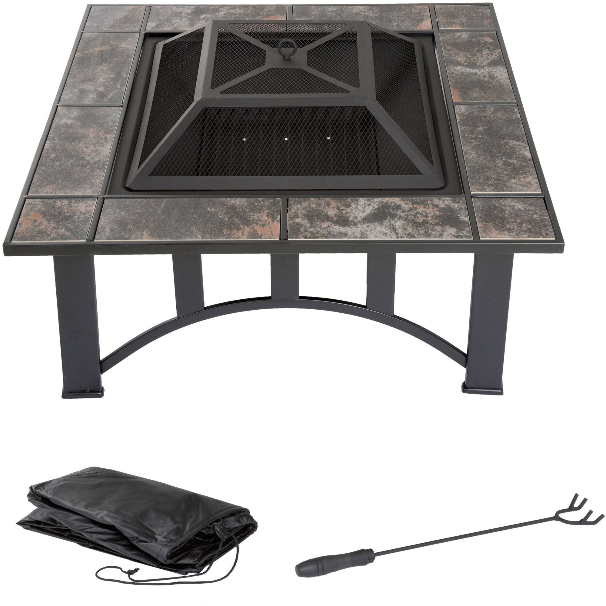 fire pit set wood burning pit includes screen cover and log poker great for outdoor and patio 33 inch square marble tile firepit by pure garden