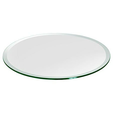 Scrolled Edge Glass Top Table - Dulles Glass & Mirror Round Glass Table Top 1/2 (12mm) Thick Beveled Edge Tempered, 30