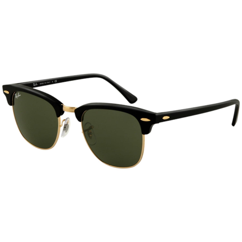 ray ban mens glasses  Ray-Ban Men's Clubmaster RB3016-W0365-51 Black Semi-Rimless Sunglasses