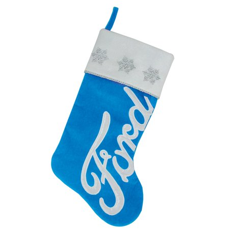 """16"""" Blue and White Ford Decorative Christmas Stocking"""