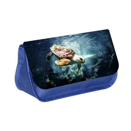Turtle - Blue Medium Sized Makeup Bag with 2 Zippered Pockets and Velcro Closure - Turtle Makeup Ideas