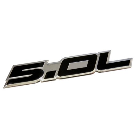 "5.0 Liter Engine Aluminum Emblem in Silver and Black - 4.5"" Long, Thin stamped aluminum emblem in silver and black By ESR Performance"