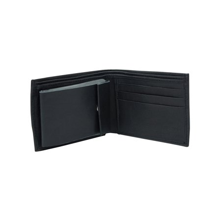 Black Leather Mens Wallet With Snap Picture Pocket
