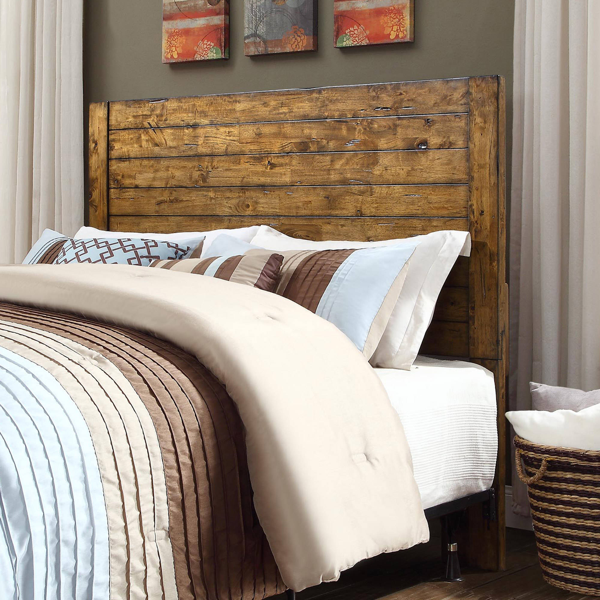 Better Homes and Gardens Bryant Full/Queen Headboard, Rustic Brown Finish