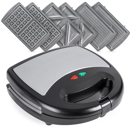 Best Choice Products 3-in-1 750W Dishwasher Safe Non-Stick Stainless Steel Electric Sandwich Waffle Panini Maker Press with 3 Interchangeable Grill Plates, Auto Shut Down, LED Indicator Light, (Best Khun Paen Maker)