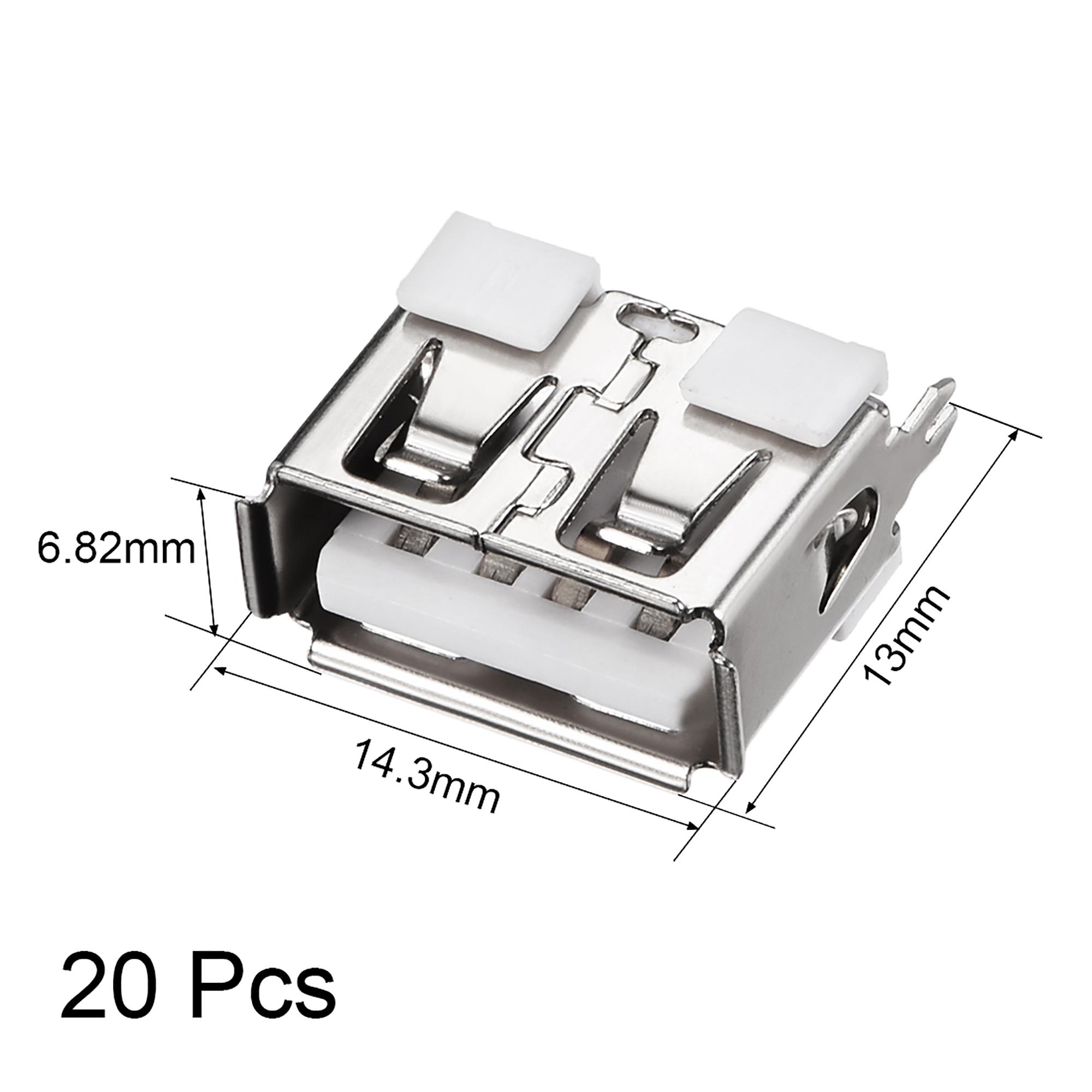 PCB USB Connector Type-A Female Jack Short Body 180 Degree Vertical Insert 20Pcs - image 1 de 4