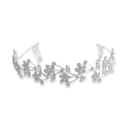Flowers Vine Leaves Headband For Wedding Crystal Tiara Comb Headpiece Hair Accessories For Bride Party Prom Birthday (Bride Headpiece)