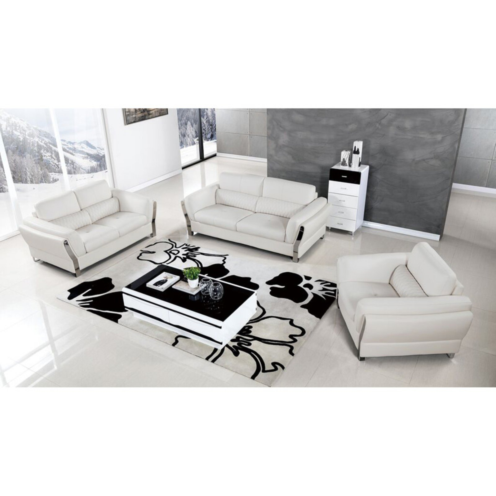 American Eagle Furniture Chelsea Upholstered 3 Piece Sofa Set With Tufted Waist