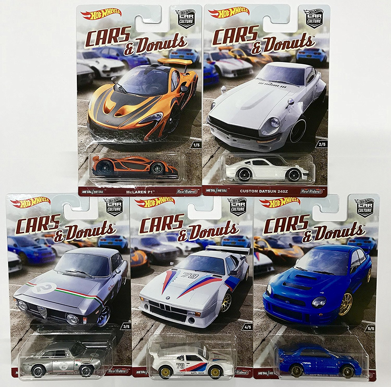Hot Wheels 1/64 Car Culture Cars and Donuts Set of 5 Real Rider Collectible Die Cast Toy