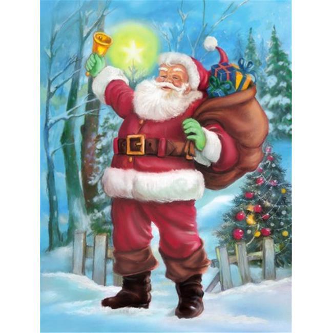 Carolines Treasures APH5001CHF Christmas Santa Rining the Bell Flag Canvas House Size - image 1 de 1