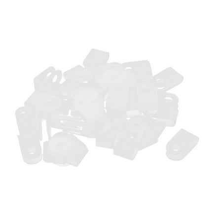 50Pcs White Plastic R Type Cable Clip Clamp for 3.3mm Dia Wire Hose -