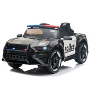 Kid Electric Police Car with 2.4GHz Remote Control, LED Lights 3 Gears Adjustable Front Wheel Suspension Toy