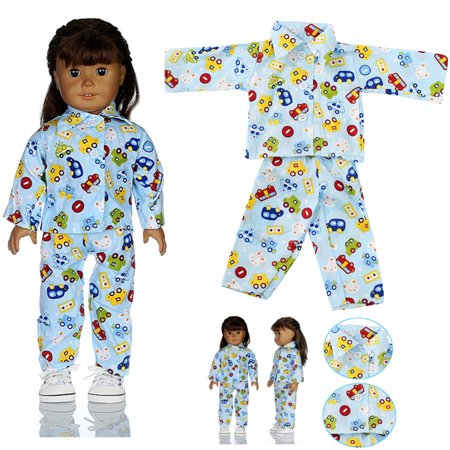 Blue Pajamas Nightgown Sleep Clothes Suit Set Fits for 18'' American Girl Doll (American Girl Doll Night Light)