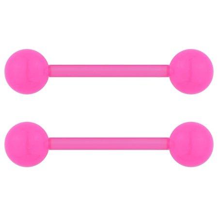 14G 16mm (5/8 Inch) Flexible Acrylic Nipple or Tongue Ring Barbell Set PLUS FREE Bonus Barbell