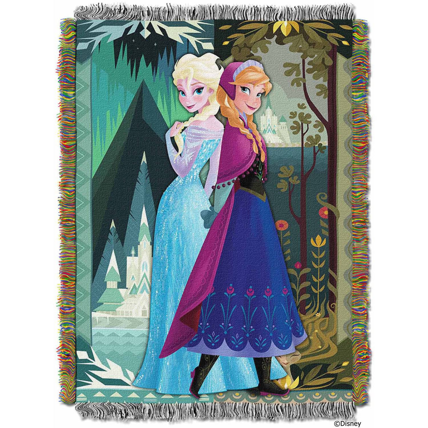 "Disney Frozen ""Two Worlds One Heart"" 48"" x 60"" Woven Tapestry Throw"