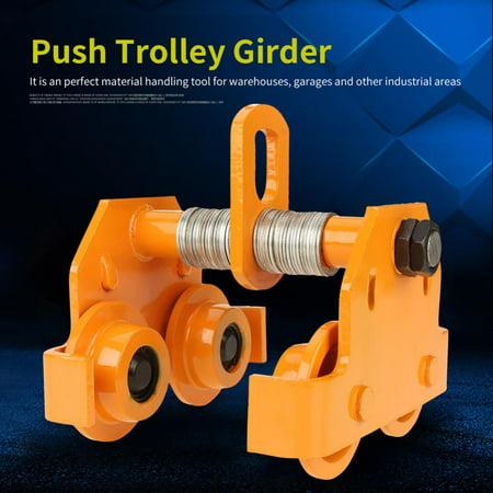 Jet Adjustable Trolley (Anauto 1 Ton Pull Capacity Adjustable Stainless Steel Push Trolley Beam Girder Precision Tool Yellow,Push Trolley, Adjustable Push)