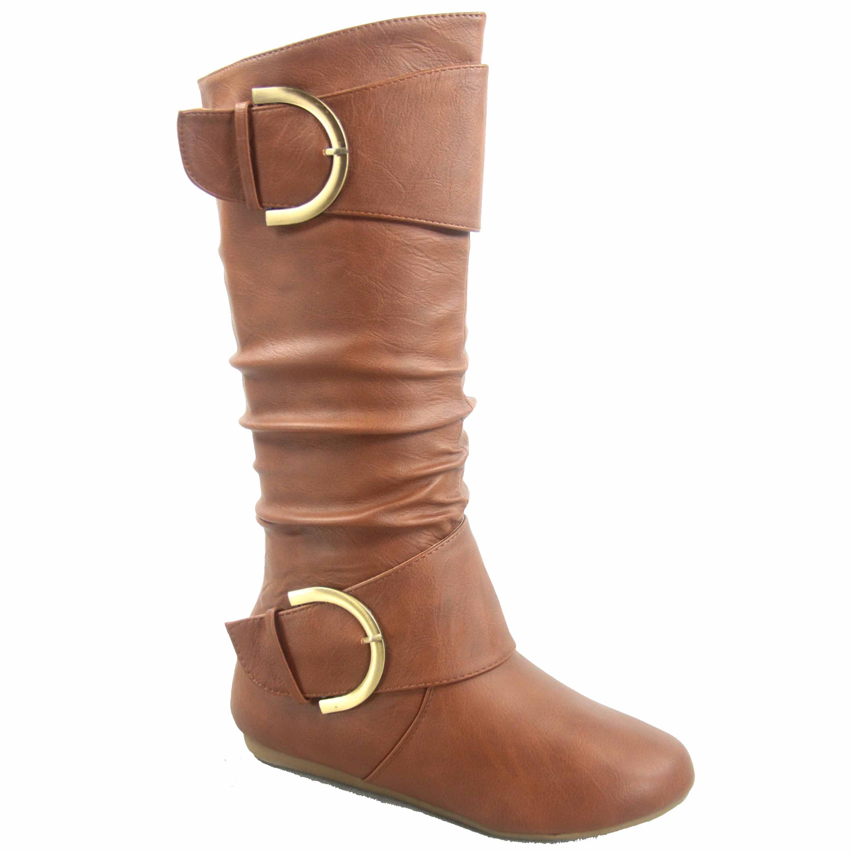 Bank-85 Women's Fashion Zipper Big Buckle Slouch Casual Flat Heel Mid Calf Round Toe Boots