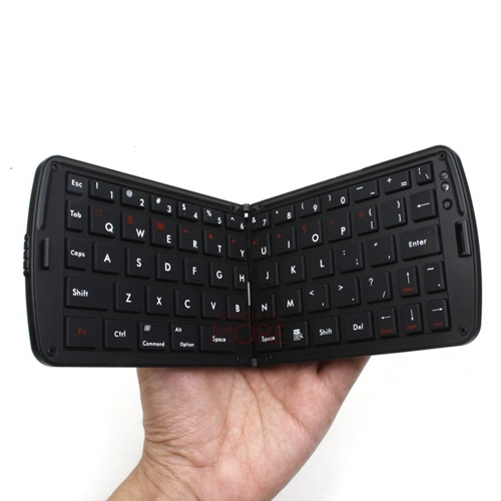 Slim Compact Fold-up Bluetooth Keyboard Wireless Keypad Portable Black Compatible With iPhone SE 5C 5, iPad 4 3 2 Q4R