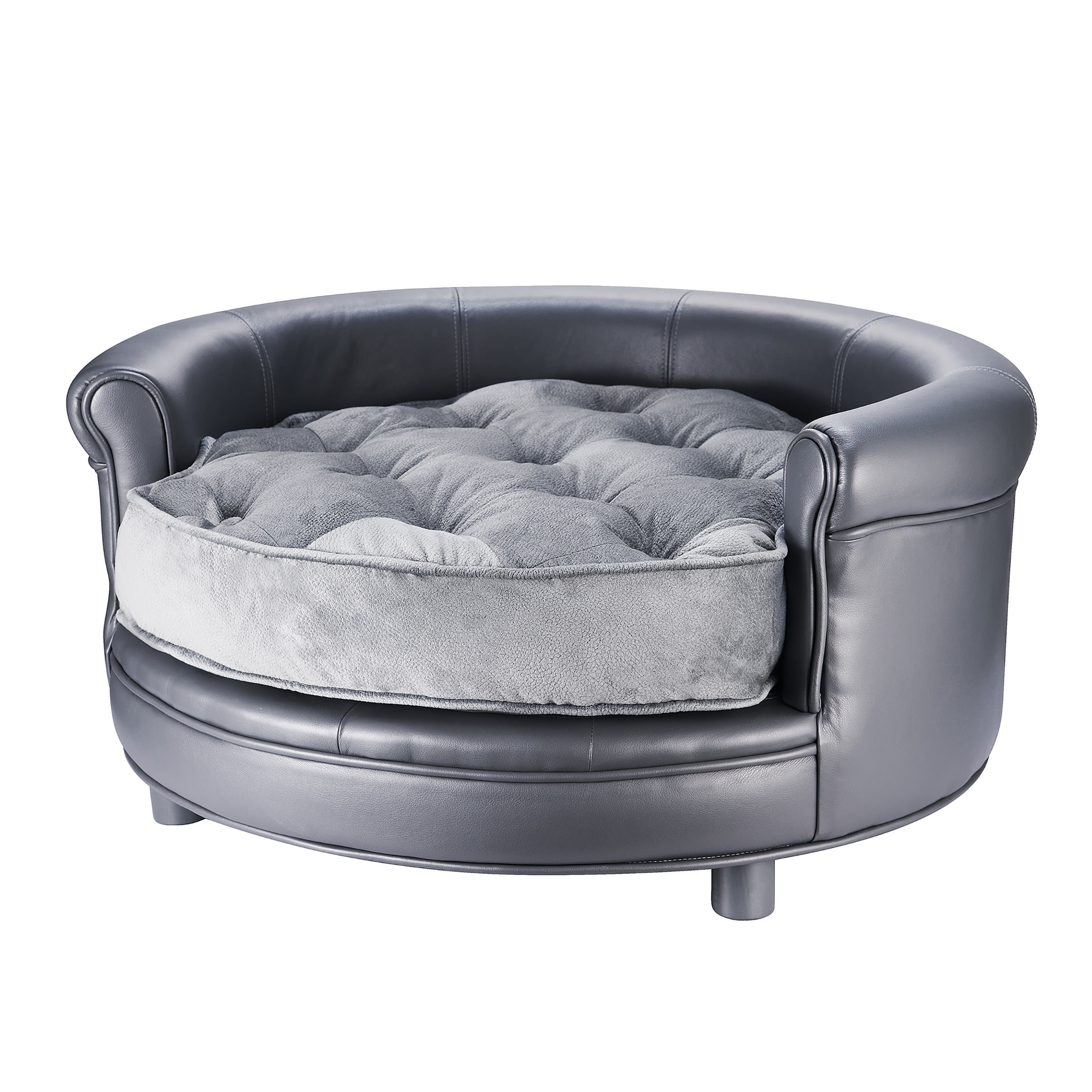 Picture of: Chesterfield Faux Leather Large Dog Bed Designer Pet Sofa By Villacera Gray Walmart Com Walmart Com